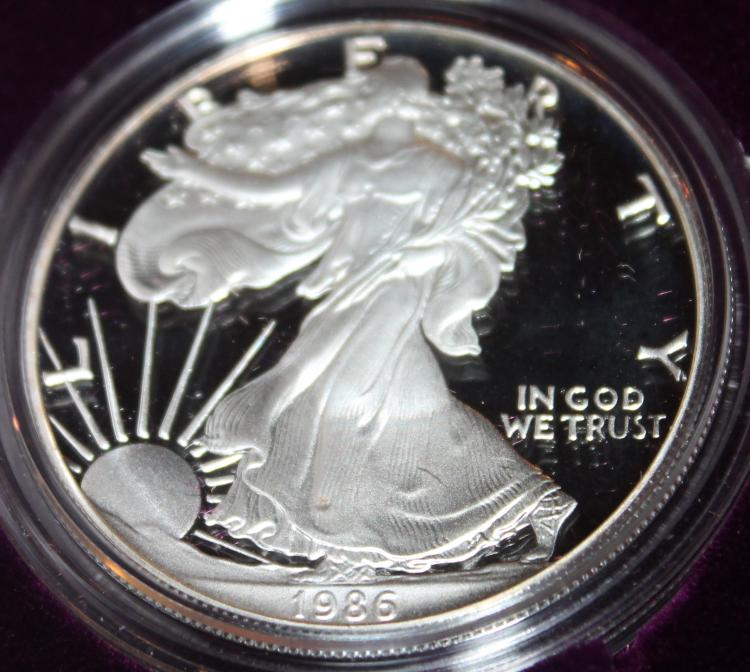 1986-S One Ounce Silver American Eagle Liberty Coin Proof