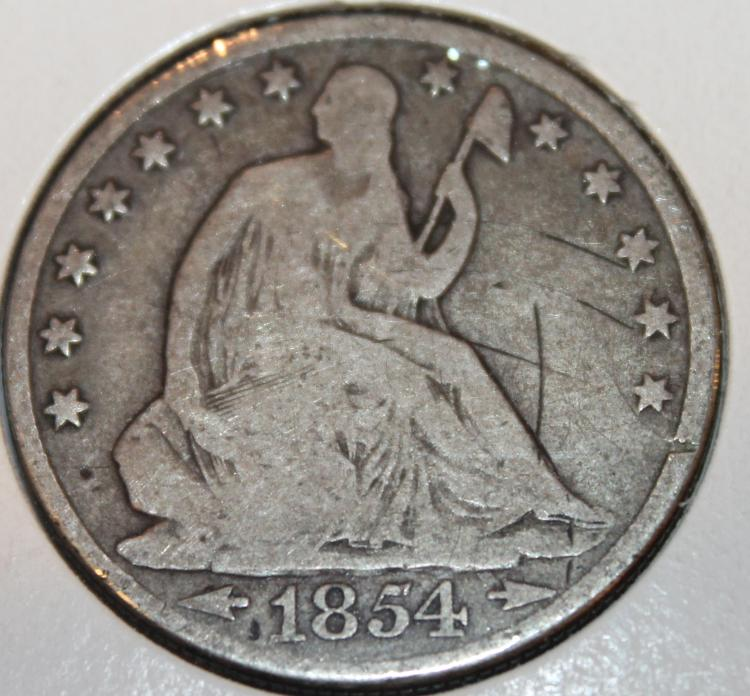 1854 Liberty Seated Half Dollar Silver Coin G-4
