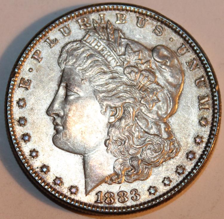 1883 Morgan Silver Dollar Coin AU-50 Or Better