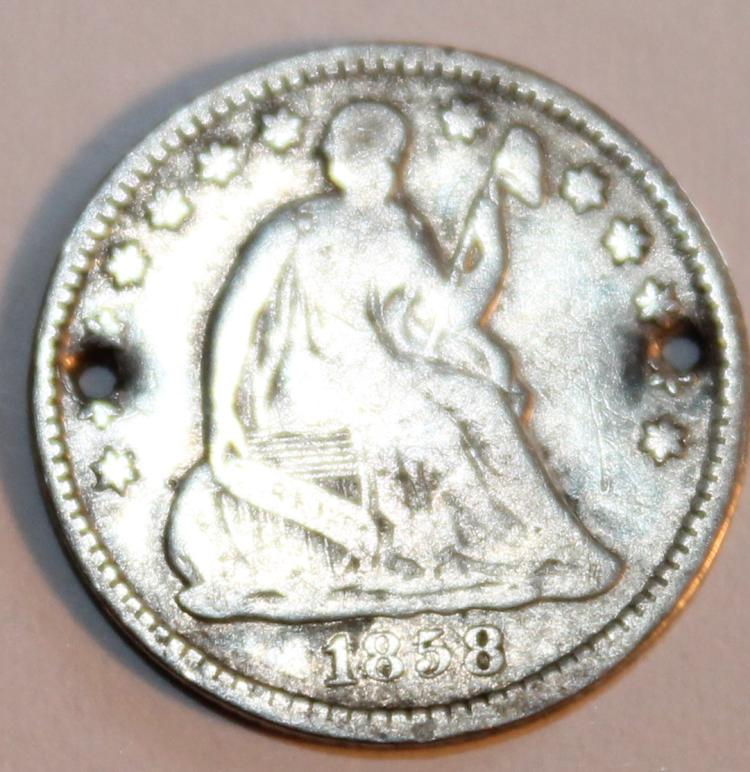 1858 Liberty Seated Half Dime Coin G-4 Or Better