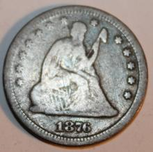 Lot 80: 1876 Liberty Seated Twenty Five Cent Silver Coin F-12 Or Better