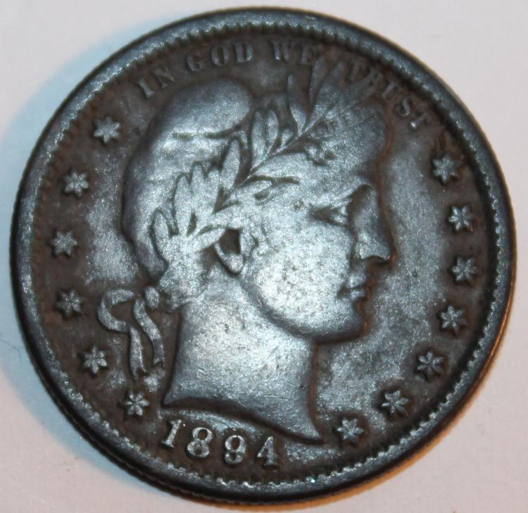 1894 Barber Or Liberty Head Quarter Silver Coin F-12 Or Better