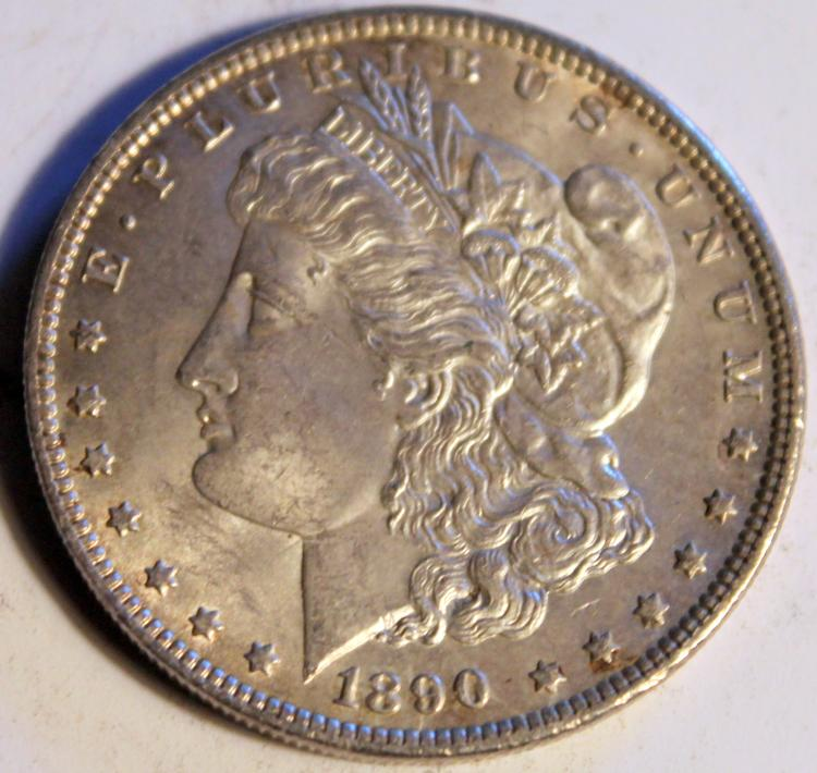 1890 Morgan Silver Dollar Coin AU-50 Or Better