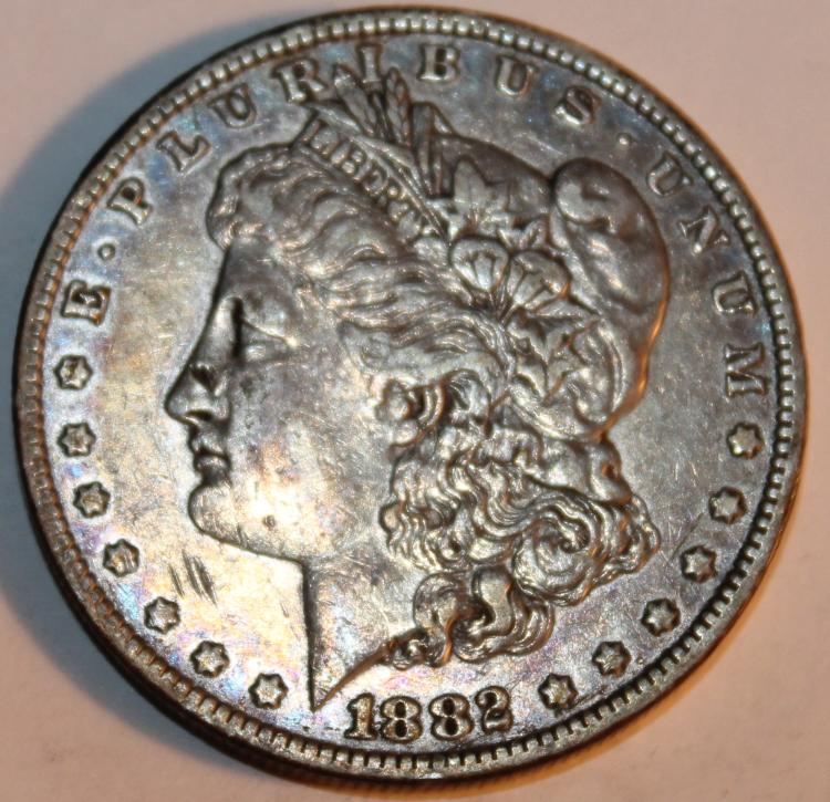 1882-O Morgan Silver Dollar Coin AU-50