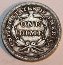 Lot 90: 1857 Liberty Seated Silver Dime EF-40 Or Better