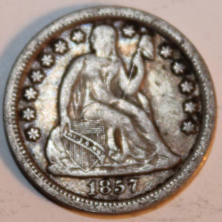 1857 Liberty Seated Silver Dime EF-40 Or Better