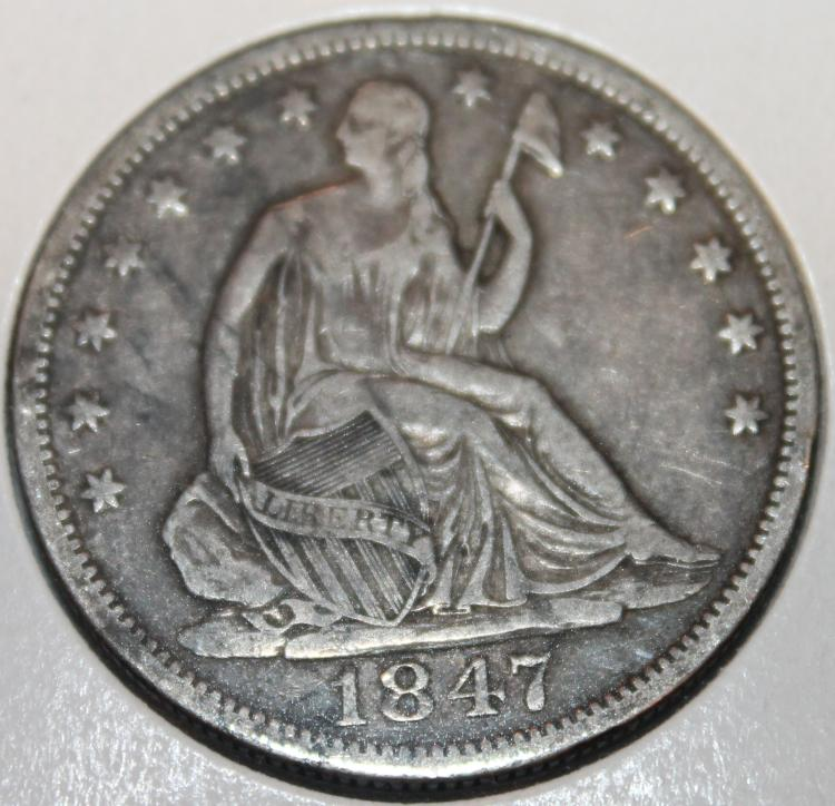 1847-O Liberty Seated Silver Half Dollar Coin VF-20 Or Better