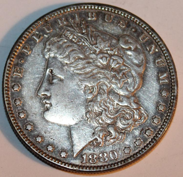 1880 Morgan Silver Dollar Coin AU-50 Or Better