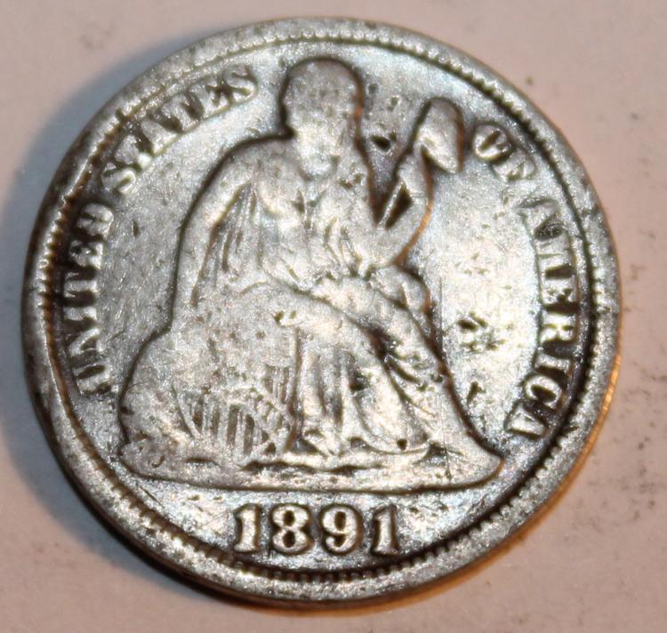 1891 Liberty Seated Silver Dime EF-40 Or Better