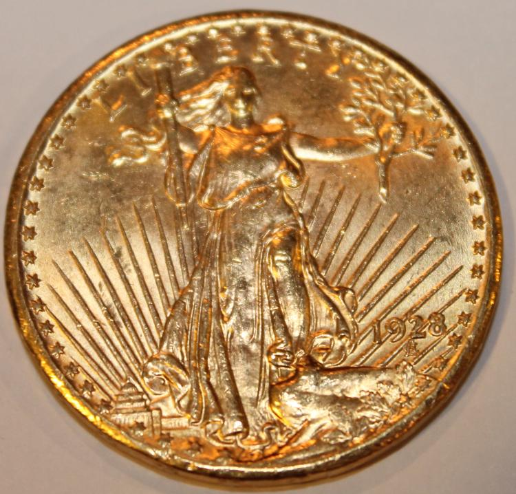 1928 Saint Gaudens Double Eagle Twenty Dollar Gold Piece AU-50 Or Better