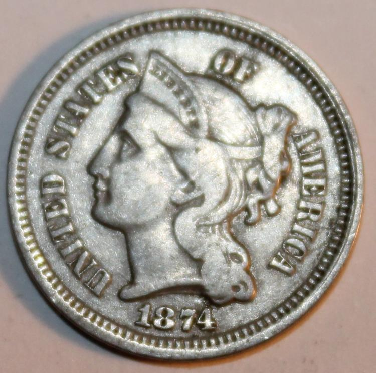 1874 Nickel Three Cent Piece Coin EF-40 Or Better
