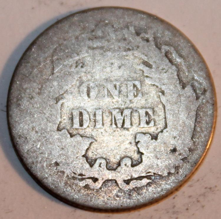 Lot 106: 1876 Liberty Seated Silver Dime Variety 4 F-12 Or Better