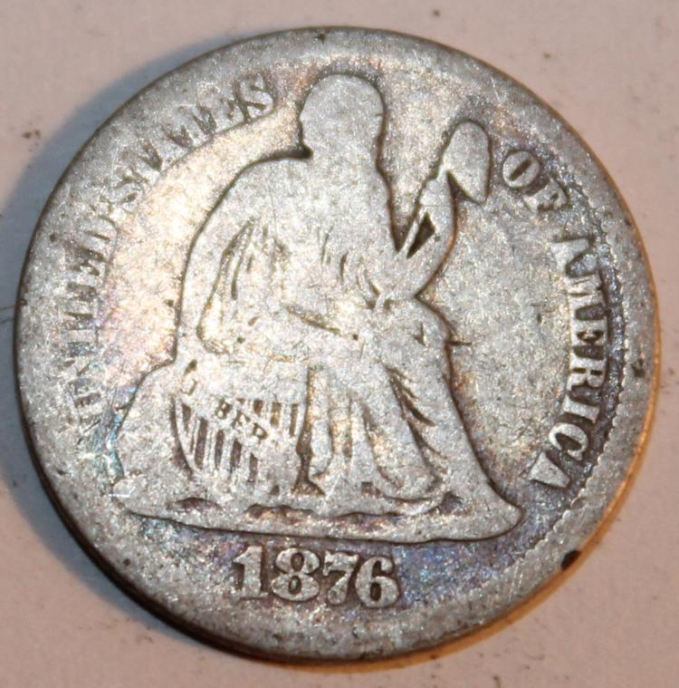 1876 Liberty Seated Silver Dime Variety 4 F-12 Or Better
