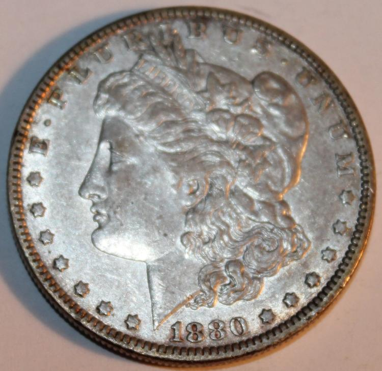 1880-O Morgan Silver Dollar Coin AU-50 Or Better