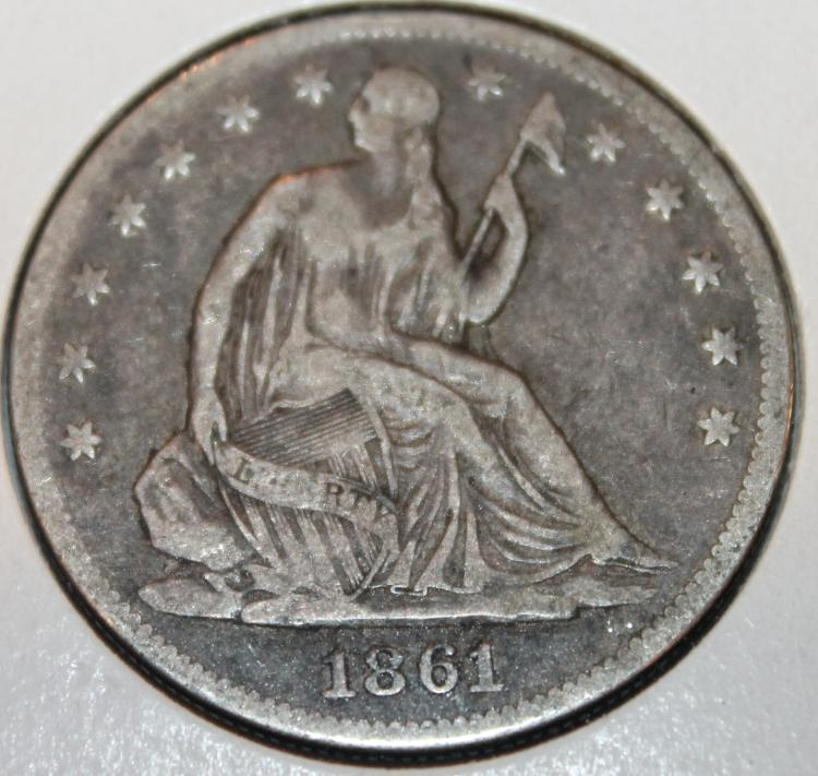 1861 Liberty Seated Silver Half Dollar Coin VG-8 Or Better
