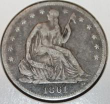 Lot 110: 1861 Liberty Seated Silver Half Dollar Coin VG-8 Or Better