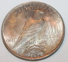 Lot 111: 1922 Peace Silver Dollar Coin AU-50 Or Better