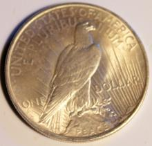 Lot 113: 1923 Peace Silver Dollar Coin AU-50 Or Better