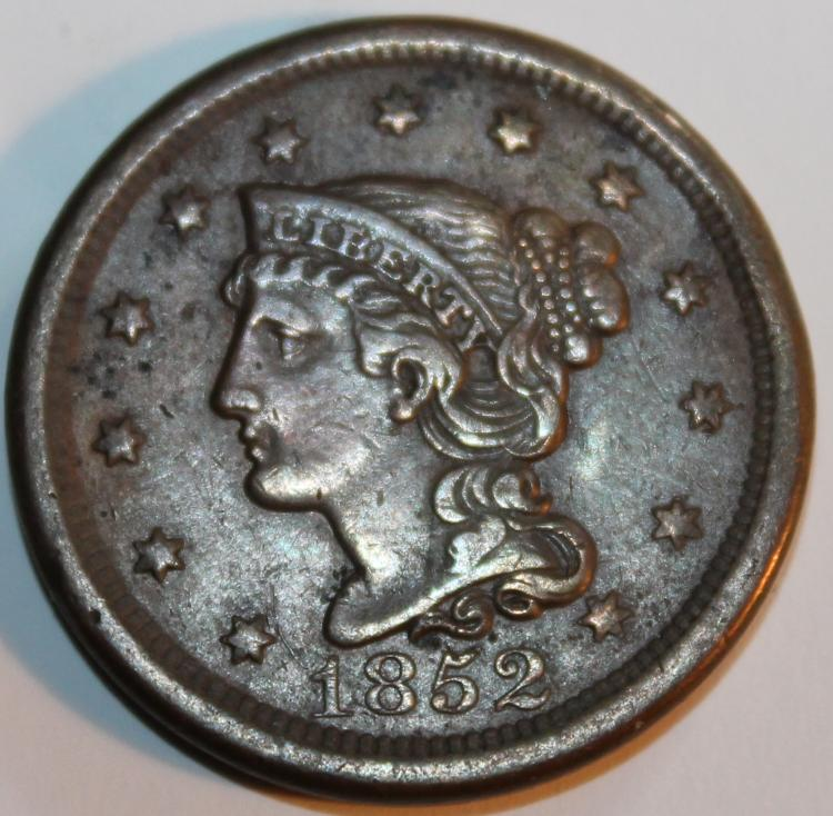 1852 Matron Head Large Cent Penny VF-20 Or Better