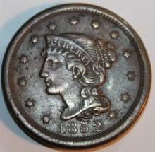 Lot 114: 1852 Matron Head Large Cent Penny VF-20 Or Better