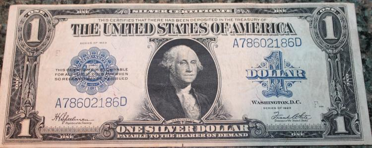 1923 Speelman White One Dollar Large Dollar Silver Certificate Fine Condition