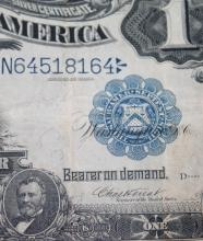 Lot 120: 1899 Vernon Treat One Dollar Large Dollar Silver Certificate Fine Condition