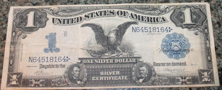 1899 Vernon Treat One Dollar Large Dollar Silver Certificate Fine Condition