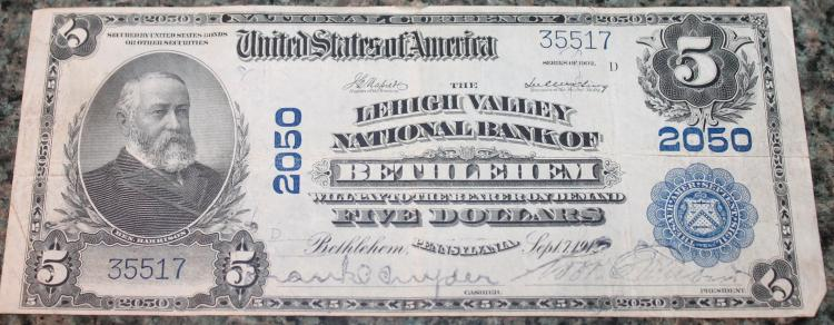 Lot 122: 1912 Napier McClung National Currency Five Dollar Bethlehem Pa Bank Note Fine Condition