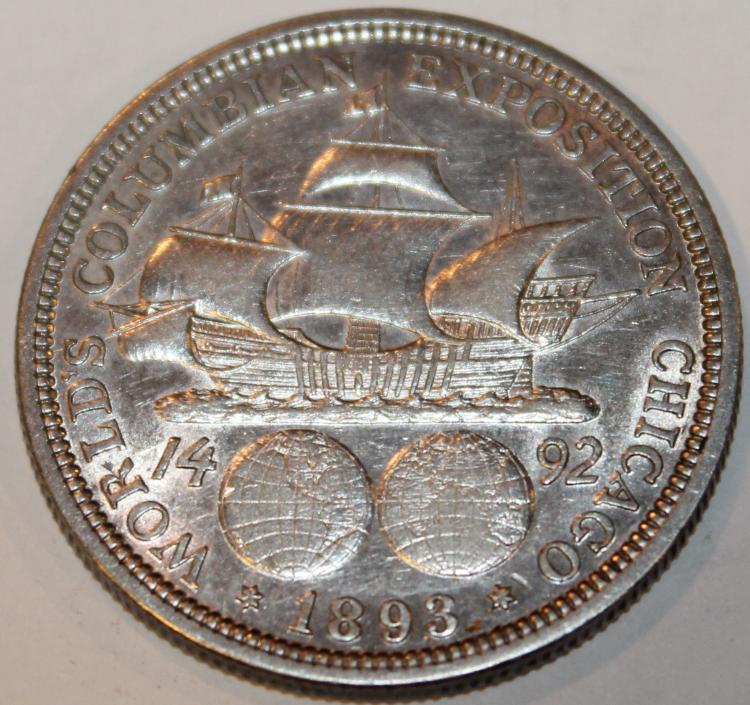 Lot 124: 1893 Columbian Exposition Half Dollar Coin AU-50