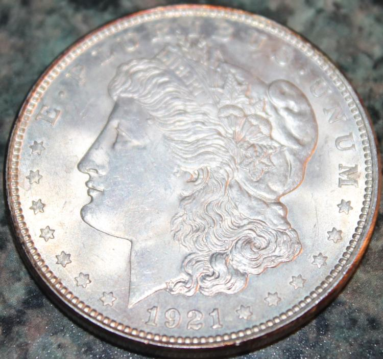 1921 Morgan Silver Dollar Coin AU-50 Or Better
