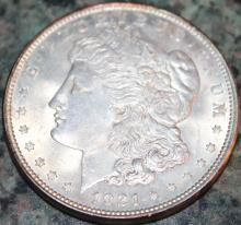 Lot 125: 1921 Morgan Silver Dollar Coin AU-50 Or Better
