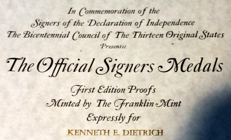 Lot 130: Franklin Mint 56 One Ounce Sterling Silver Medallion Signors Of The Declaration Set