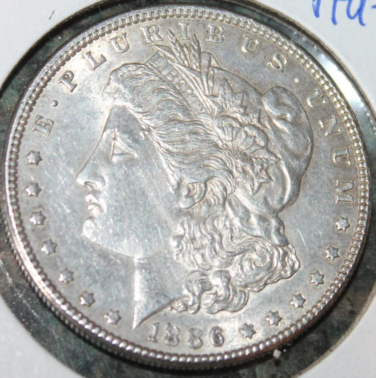 1886 Morgan Silver Dollar Coin AU-50 Or Better