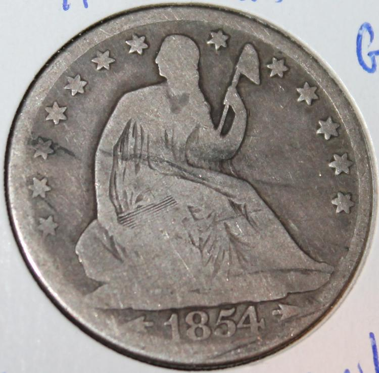 1854-O Liberty Seated Silver Half Dollar Coin G-4 Or Better