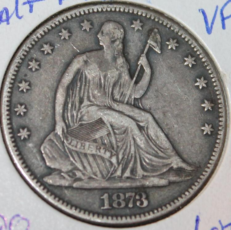 1873 Liberty Seated Silver Half Dollar Coin VF-20 Or Better