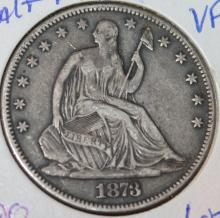 Lot 98: 1873 Liberty Seated Silver Half Dollar Coin VF-20 Or Better