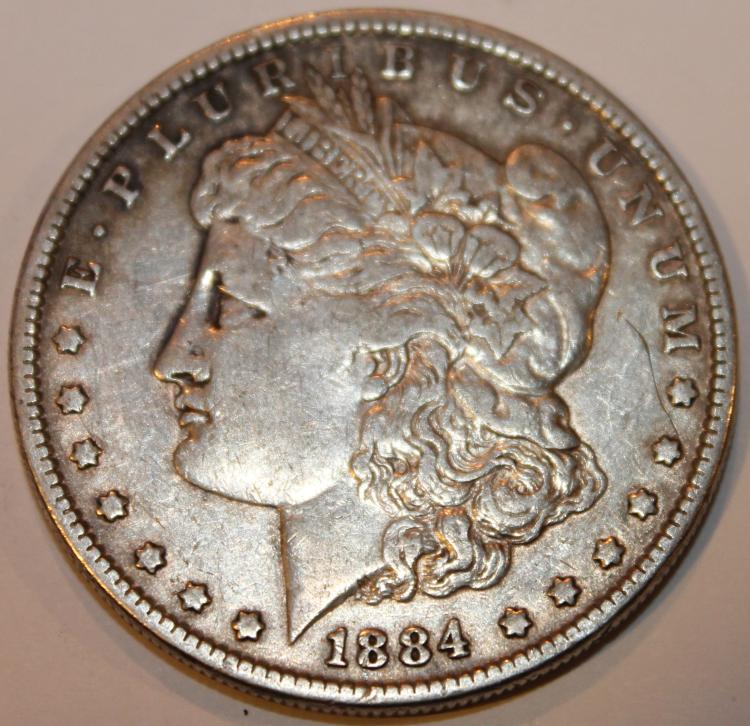 1884 Morgan Silver Dollar Coin EF-40