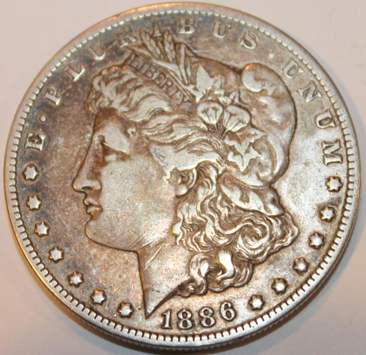 1886-O Morgan Silver Collar Coin EF-40