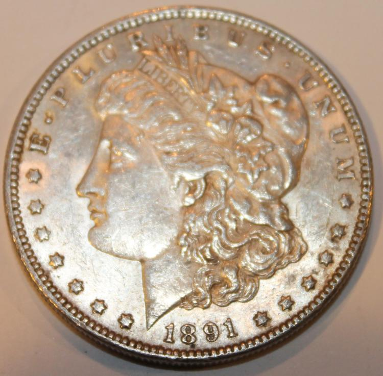 1891 Morgan Silver Dollar Coin AU-50