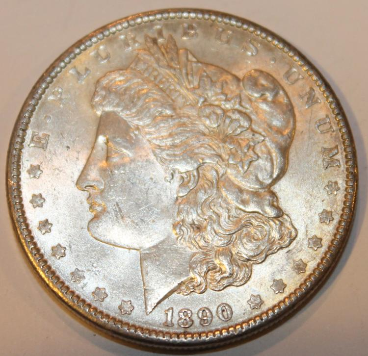 1890 Morgan Silver Dollar Coin AU-50