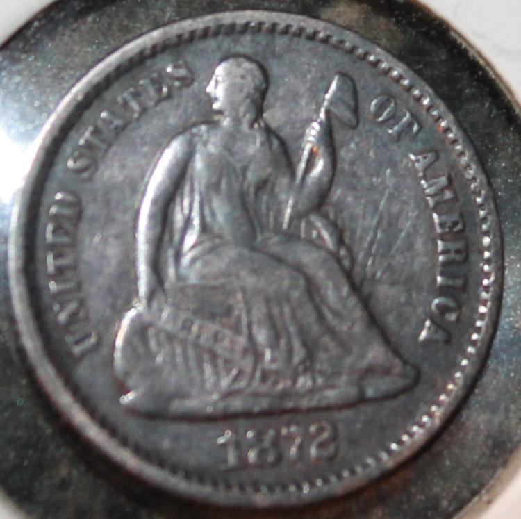 1872 Liberty Seated Half Dime EF-40 Or Better
