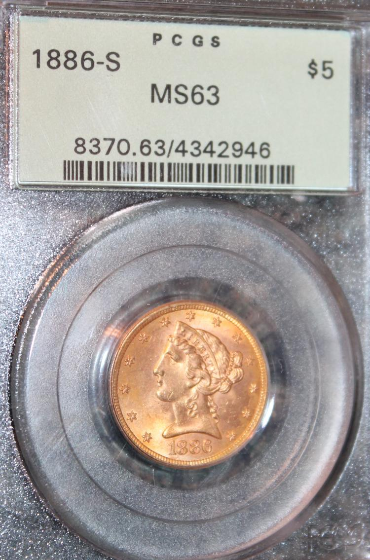 1886-S Liberty Head Gold Half Eagle Coin PCGS Rated MS-63