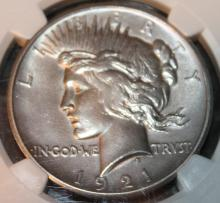 Lot 143: 1921 High Relief Peace Type Silver Dollar NGC Rated AU Polished