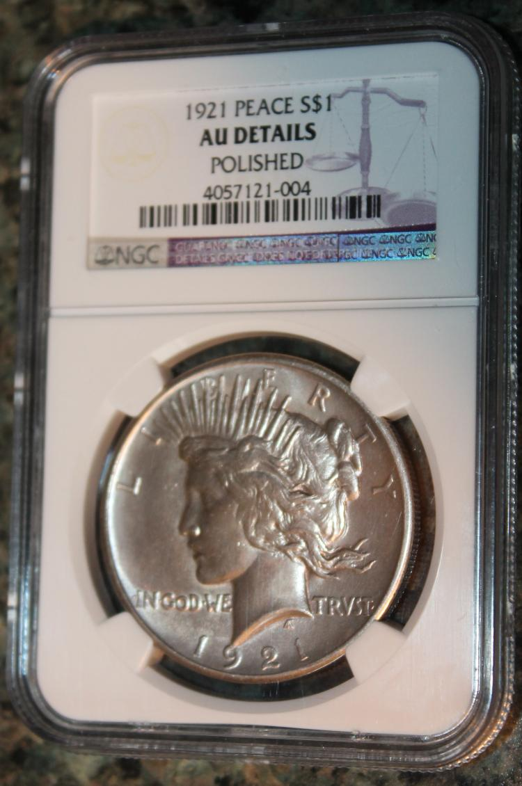 1921 High Relief Peace Type Silver Dollar NGC Rated AU Polished