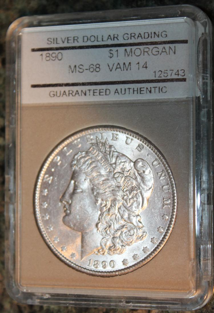 1890 Morgan Silver Dollar Coin SDG Rated MS-68
