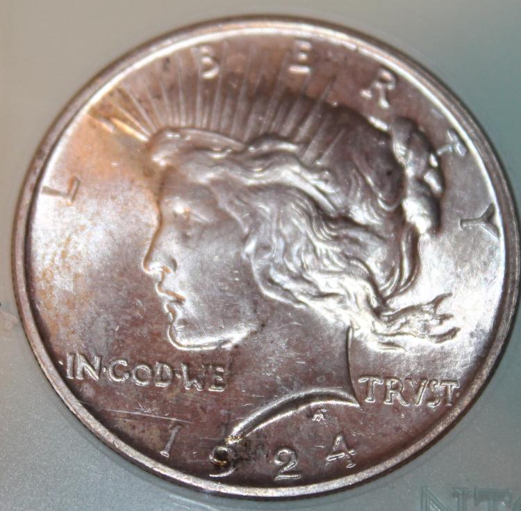 Lot 145: 1924 Peace Type Silver Dollar NTC Rated MS-66