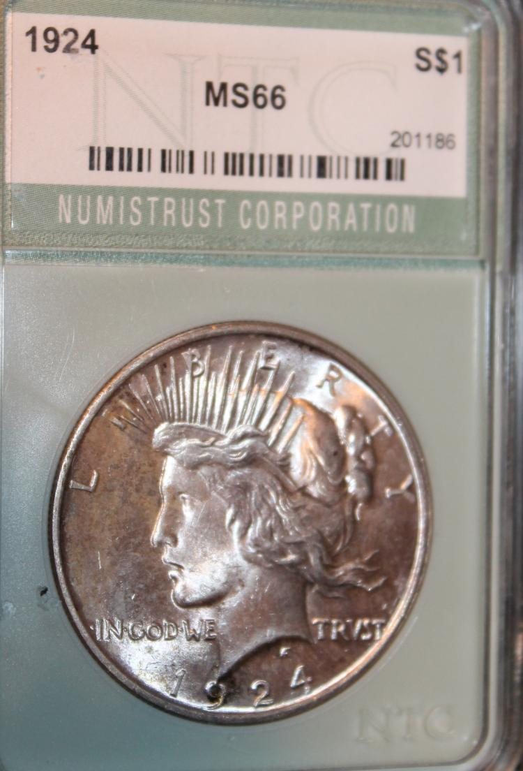 1924 Peace Type Silver Dollar NTC Rated MS-66