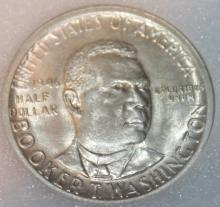 Lot 146: 1946 Booker T. Washington Silver Half Dollar Commemorative Coin NNC Rated MS-64