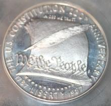 Lot 148: 1987-S US Constitution Commemorative $1 Coin USCG Rated PR-70