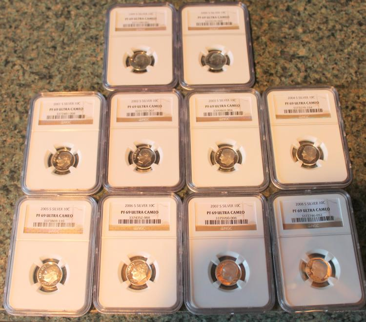 Lot Of 10 Roosevelt Dimes 1998-S to 2008-S All NGC Rated MS-60 Ultra Cameo